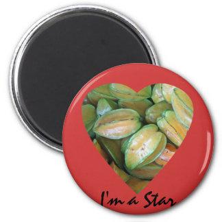 Star Fruit 2 Inch Round Magnet