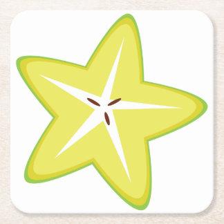Star Fruit Square Paper Coaster