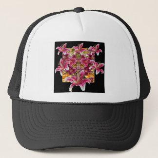 star gazer lilies floral art trucker hat