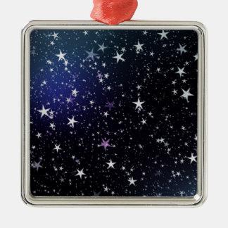 Star Gazer Nature Sky Space Peace Love Destiny Square Metal Christmas Ornament