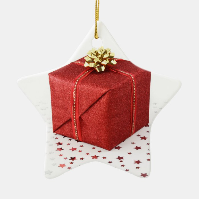 Star Gift Box Ceramic Ornament