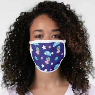 Star Girl flying with Umbrella Face Mask