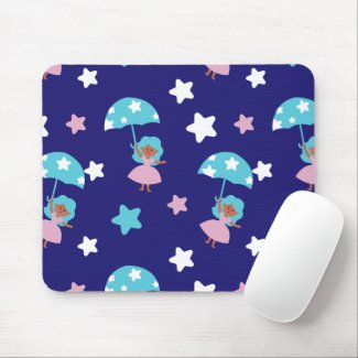 Star Girl flying with Umbrella Mouse Pad