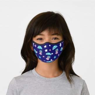 Star Girl flying with Umbrella Premium Face Mask