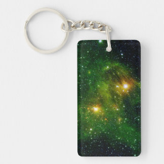 Star GL 490 Green Cluster Space Double-Sided Rectangular Acrylic Keychain