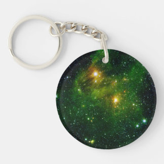 Star GL 490 Green Cluster Space Double-Sided Round Acrylic Keychain