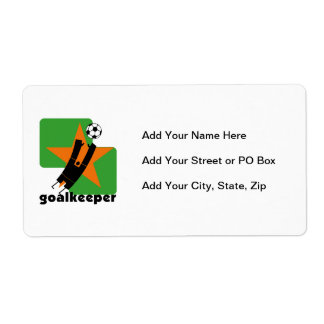Star Goalkeeper T shirts and Gifts Shipping Label