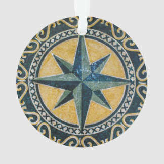 Star Green Compass Round Medallion Mosaic Ornament