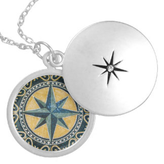 Star Green Compass Round Medallion Mosaic Silver Plated Necklace