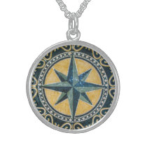 Star Green Compass Round Medallion Mosaic Sterling Silver Necklace