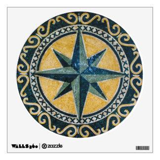 Star Green Compass Round Medallion Mosaic Room Decals