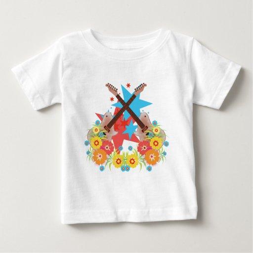 Star Guitar Flowers Baby T-Shirt