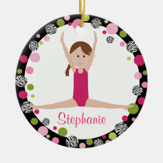 Star Gymnast Brown Hair in Pink Personalized Ceramic Ornament