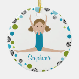 Star Gymnast in Aqua and Green Personalized Ceramic Ornament