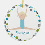 Star Gymnast in Aqua and Green Personalized Christmas Ornaments