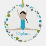 Star Gymnast in Aqua and Green Personalized Christmas Tree Ornament