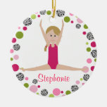 Star Gymnast in Pinks Personalized Ceramic Ornament