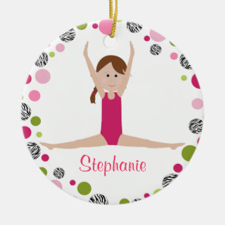 Star Gymnast in Pinks Personalized Ornaments