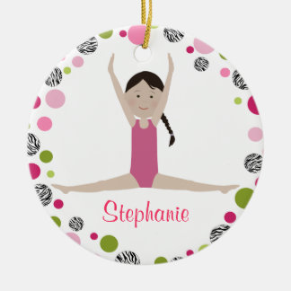 Star Gymnast in Pinks Personalized Ornament