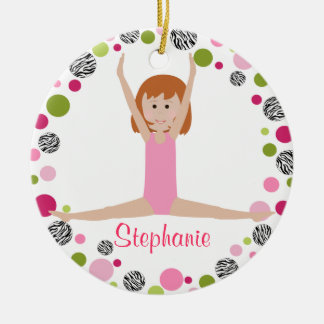 Star Gymnast in Pinks Personalized Double-Sided Ceramic Round Christmas Ornament
