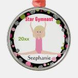 Star Gymnast Keepsake Pink and Green Christmas Ornaments