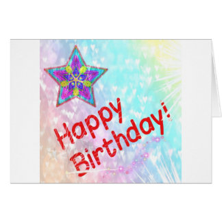 Star Happy Birthday Party Peace Colorful Destiny Card