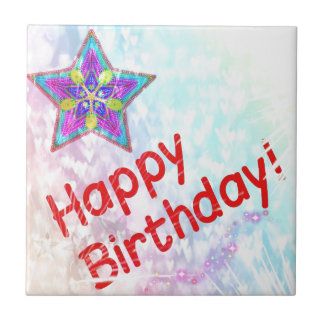 Star Happy Birthday Party Peace Colorful Destiny Ceramic Tiles
