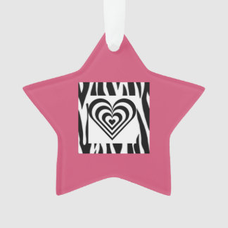 Star & Heart Hot Pink Zebra Print Ornament