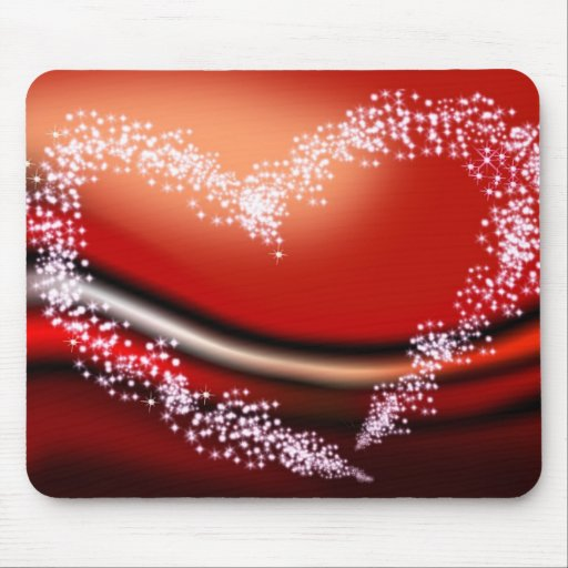 Star Heart on Red Mouse Pad