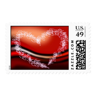 Star Heart on Red Postage Stamp