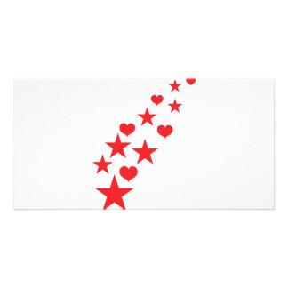 Star hearts custom photo card