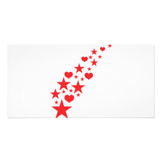 star hearts customized photo card
