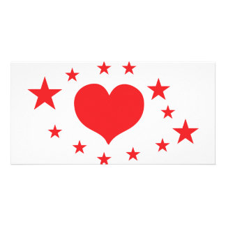 star hearts photo card template