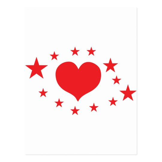 star hearts postcard