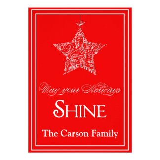 Star Holiday Card - Star Christmas Card Personalized Invitations