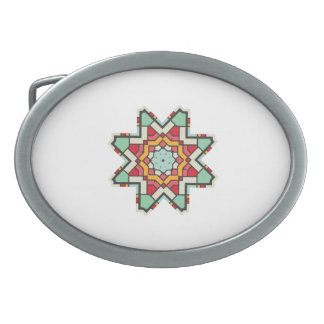 Star in retro colors oval belt buckle