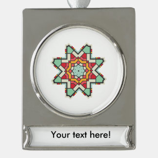 Star in retro colors silver plated banner ornament
