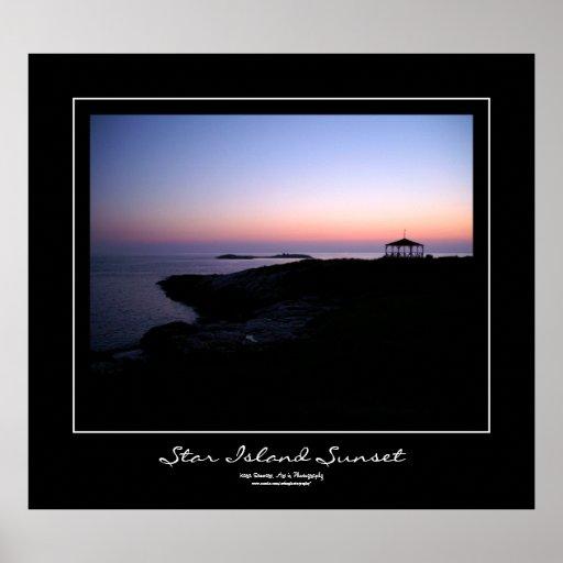 Star Island Sunset Black Border Poster