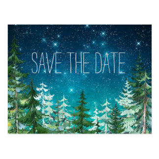 Star Light Night Forest Wedding Save the Date Postcard