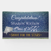Star Light Sky Denim Blue Graduation Party Banner