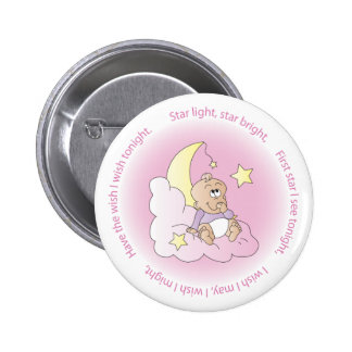 Star Light, Star Bright Baby Girl in Pink Pinback Button