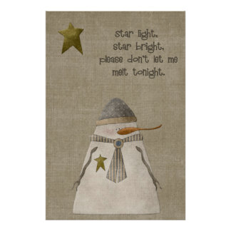 Star Light, Star Bright Snowman Poster