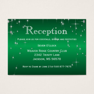 Star Lights in Metallic Green - Reception Business Card