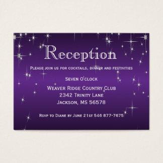 Star Lights in Metallic Purple - Reception Business Card