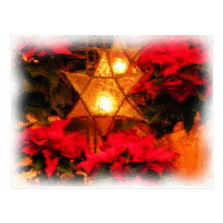 Star Luminaria Red Poinsettias Watercolor Post Cards