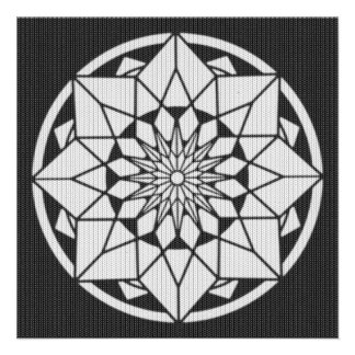 Star Mandala knitting black & white Card