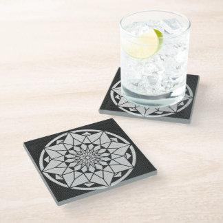 Star Mandala knitting black & white Glass Coaster