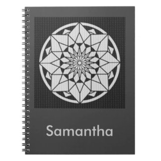 Star Mandala knitting black & white Spiral Notebook
