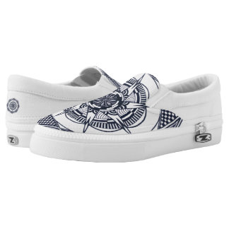 Star Mandala Slippers (black and white) Printed Shoes