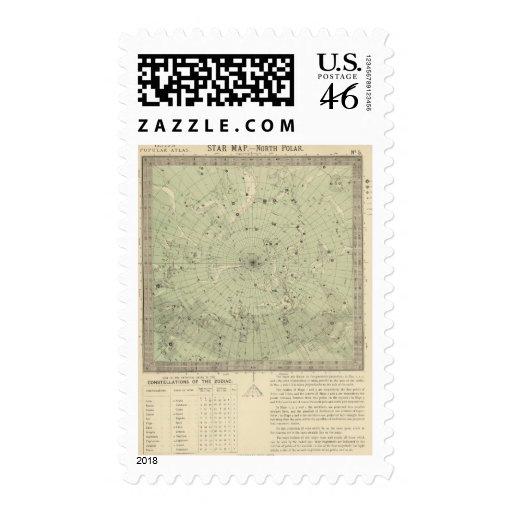 Star map of North polar region Stamp